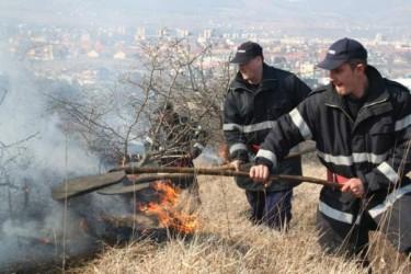Sute de incendii de vegetaţie stinse de pompierii sălăjeni