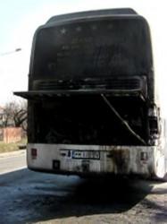 Autocar cu pasageri, cuprins de un incendiu