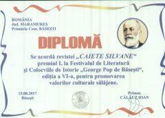 """Revista """"Caiete Silvane"""", premiată pentru promovarea valorilor culturale sălăjene"""